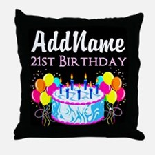21 YR OLD PARTY Throw Pillow