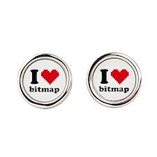 I Heart Bitmap Cufflinks