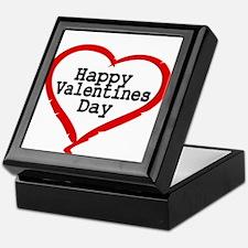 Happy Valentines Day with Large Heart Keepsake Box
