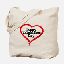 Happy Valentines Day with Large Heart Tote Bag