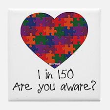 Autism Awareness Month Heart Tile Coaster
