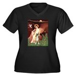 Seated Angel & Boxer Women's Plus Size V-Neck Dark