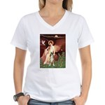 Seated Angel & Boxer Women's V-Neck T-Shirt
