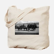 Men riding in a Tally-ho Tote Bag
