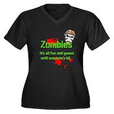 Cute Zombie game Women's Plus Size V-Neck Dark T-Shirt
