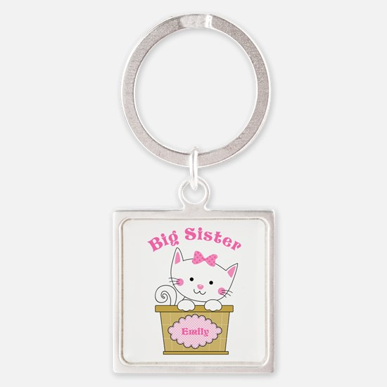 Personalized Kitty Big Sister Square Keychain