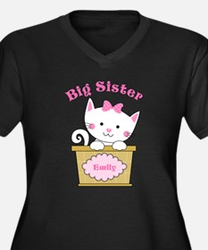 Personalized Kitty Big Sister Women's Plus Size V-