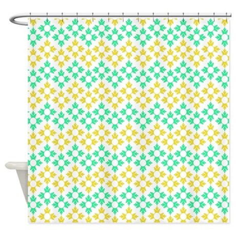 Yellow And Teal Abstract Pattern Shower Curtain By Bwcdesigns