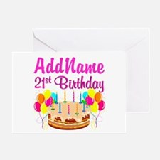 DAZZLING 21ST Greeting Card