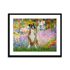 Boxer in Monet's Garden Framed Panel Print