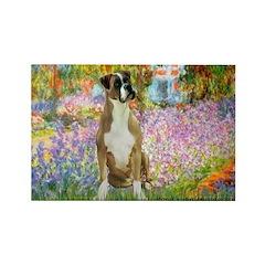 Boxer in Monet's Garden Rectangle Magnet (10 pack)