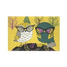 Trendy Owls Rectangle Magnet