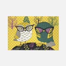 Trendy Owls Rectangle Magnet