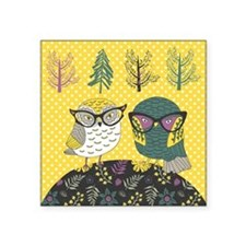 "Trendy Owls Square Sticker 3"" x 3"""