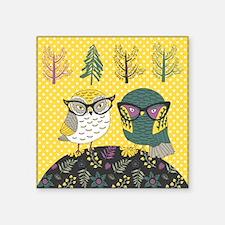 "Trendy Owls Square Sticker 3"" x 3"""