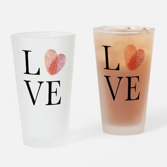 Love with red fingerprint heart Drinking Glass