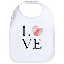 Love with red fingerprint heart Bib