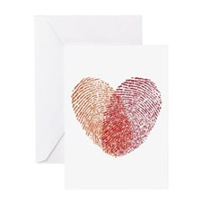 Red fingerprint heart Greeting Cards