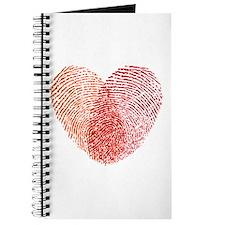 Red fingerprint heart Journal