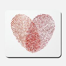 Red fingerprint heart Mousepad