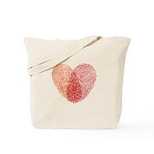 Red fingerprint heart Tote Bag