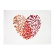 Red fingerprint heart 5'x7'Area Rug