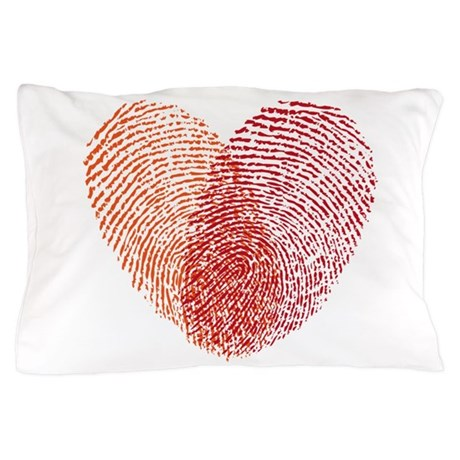 Red fingerprint heart Pillow Case