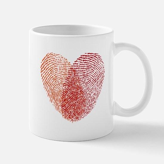 Red fingerprint heart Mugs