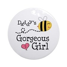 Bumble Bee Daddys Girl Ornament (Round)