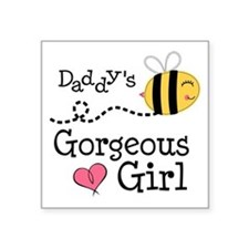 """Bumble Bee Daddys Girl Square Sticker 3"""" x 3"""""""