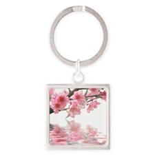 Flowers Water Reflection Square Keychain