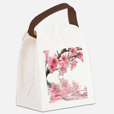 Flowers Water Reflection Canvas Lunch Bag
