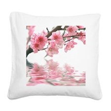 Flowers Water Reflection Square Canvas Pillow