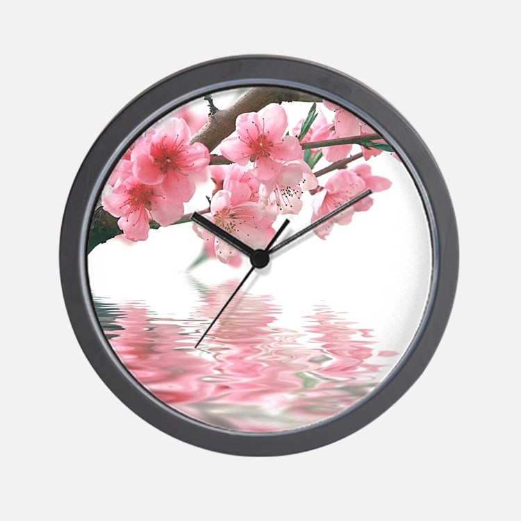 Flowers Water Reflection Wall Clock