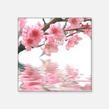 """Flowers Water Reflection Square Sticker 3"""" x 3"""""""