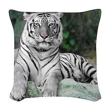 White Tiger Woven Throw Pillow