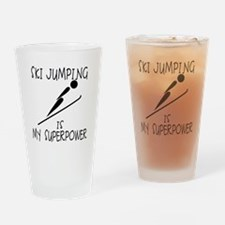 SKI JUMPING is My Superpower Drinking Glass