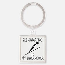 SKI JUMPING is My Superpower Square Keychain