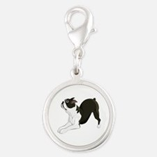 Boston Terrier Silver Round Charm