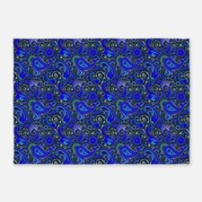 Blue Paisley Pattern 5'X7'area Rug