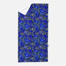Blue Paisley Pattern Beach Towel