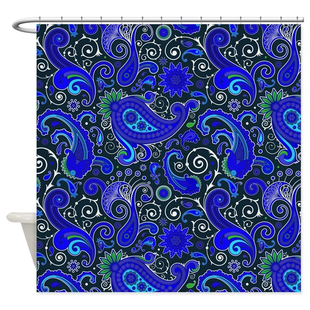 Blue Paisley Pattern Shower Curtain By Graphicallusions