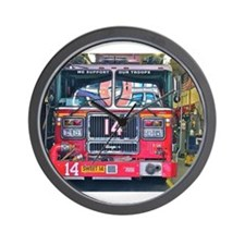 Big Red Fire Truck Wall Clock
