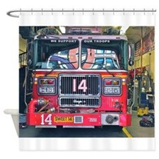 Big Red Fire Truck Shower Curtain