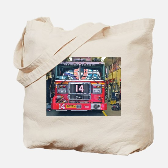 Big Red Fire Truck Tote Bag