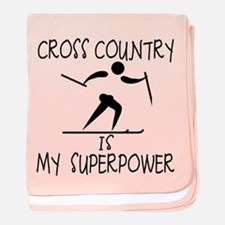 CROSS COUNTRY is My Superpower baby blanket
