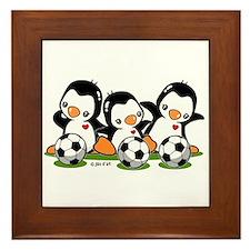 Soccer Penguins Framed Tile