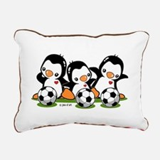Soccer Penguins Rectangular Canvas Pillow