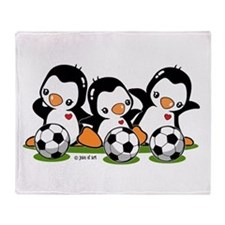 Soccer Penguins Throw Blanket
