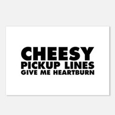 Cheesy Pickup Lines Give Me Heartburn Postcards (P